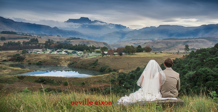 Wedding couple facing Wits End - photograph by Neville Nixon